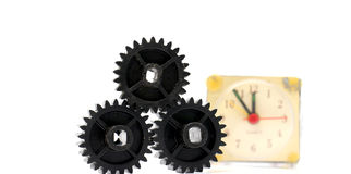Black old plastic dirty cogwheel Royalty Free Stock Images