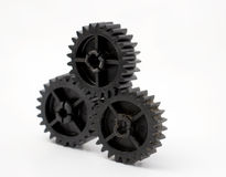 Black old plastic dirty cogwheel Royalty Free Stock Photo