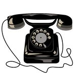Black old retro phone with dial disk and wire. stock illustration