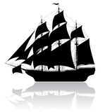 Black old ship royalty free illustration