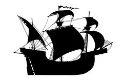 Black old ship sailing vessel isolated Stock Images
