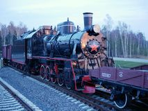 Black old Soviet steam locomotive in the Museum. royalty free stock photos