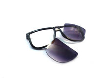 The black old sunglasses is  Decisive Royalty Free Stock Images