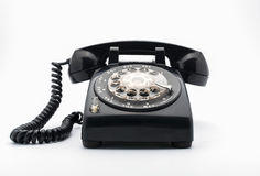 Black old telephon with rotary dia Stock Photo