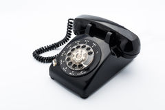 Black old telephon with rotary dia Royalty Free Stock Images