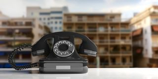 Black old telephone on city abstract background. 3d illustration. Black old telephone on urban abstract background. 3d illustration Royalty Free Stock Photo