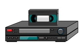 Black old vintage retro vintage hipster vintage video recorder with video cassette standing on a VCR for watching movies, videos f. Rom the 80`s, 90`s on a white royalty free illustration