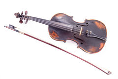 Black old violin. On white Royalty Free Stock Image