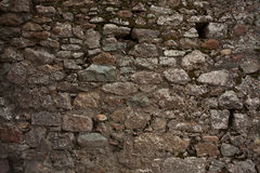 Black old wall was built of stones Royalty Free Stock Image