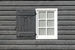 Black old wood window in country house. Royalty Free Stock Images