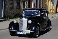 Black oldtimer Mercedes. XIV. International oldtimer rallye 500 km Slovakia - Mercedes 320 - 1937 - Šimon Hulka Slovakia Royalty Free Stock Photography