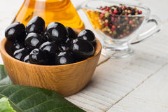 Black olive in bowl Royalty Free Stock Images