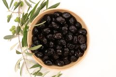 Black olive and branch. On white Royalty Free Stock Images