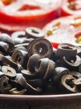 Black olives chopped Royalty Free Stock Image