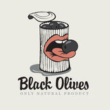 Black olives. Conserve of black olives and mouth Royalty Free Stock Photo