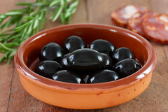 Black olives in dish Royalty Free Stock Photography