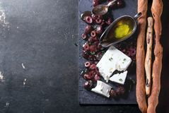 Black olives and feta cheese Stock Image