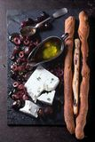Black olives and feta cheese Royalty Free Stock Photo