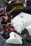 Black olives and feta cheese Royalty Free Stock Images