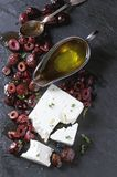 Black olives and feta cheese Stock Photography