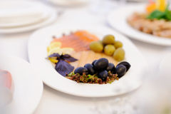 Black Olives and Fish Stock Photography