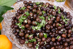 Black Olives with Garlic and Pasley Royalty Free Stock Image