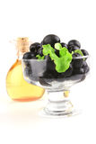 Black olives inside small bowl Royalty Free Stock Photography