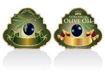 Black olives labels Royalty Free Stock Image