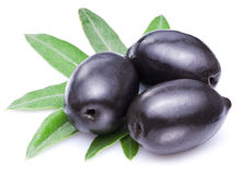 Black olives with leaves. Stock Photography