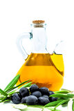 Black olives and olive oil Royalty Free Stock Image