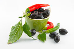 Black olives and red pepper Royalty Free Stock Photo