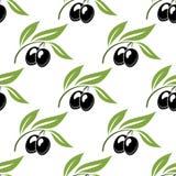 Black olives seamless pattern Stock Images