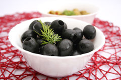 Black olives. Some fresh, black olives in a bowl royalty free stock images