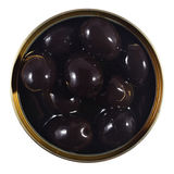 Black olives in a tin on a white Royalty Free Stock Photos