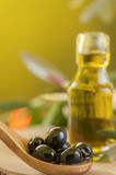 Black Olives and Virgin Olive Oil Stock Photography