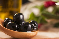 Black Olives and Virgin Olive Oil Royalty Free Stock Photography