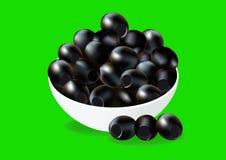 Black olives on white plate,. On green, vector illustration Stock Photo