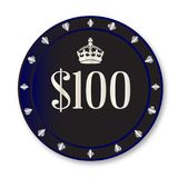 100 Dollar Chip. A black one hundred dollar gambling chip over a white background stock illustration