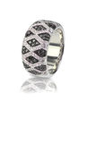 Black Onyx and Diamond Pave Wedding Anniversary Ring. Isolate on white background with a reflection. Fine Jewelry stock image