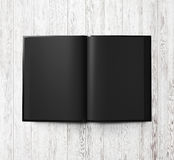 Black open book on white wood. 3d render Royalty Free Stock Image