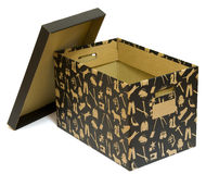 Black open cardboard box. Cardboard box for a moving day Stock Images