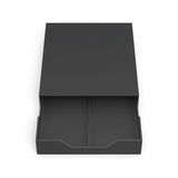Black open drawer box  on white background. 3d rendering. Black open drawer box  on white background. Laminated cardboard. Plastic box. 3d rendering Stock Image
