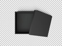 Black open empty squares cardboard box isolated on transparent background. Mockup template for design products, package Stock Photo