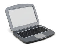 Black open laptop on white background. 3d rendering.  Stock Photos
