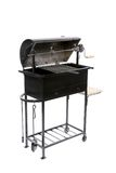 Black opened barbeque grill. Isolated on a white background Stock Photos
