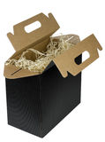Black opened  box for bottles Royalty Free Stock Image