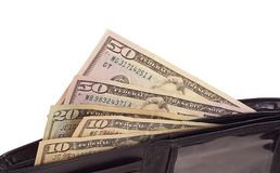 Black opened wallet with dollars in it Royalty Free Stock Photo