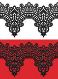 Black openwork lace seamless border. Royalty Free Stock Photos