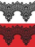 Black openwork lace seamless border. Realistic  illustration Royalty Free Stock Photos