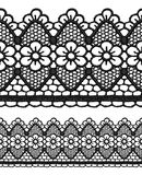 Black openwork lace seamless border. Stock Photos